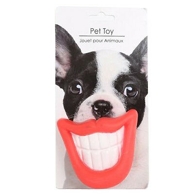 Dog Smile Toy Ball Squeaky Fun Fetch Pet Throw Puppies Rubber Fun Gift Teeth New