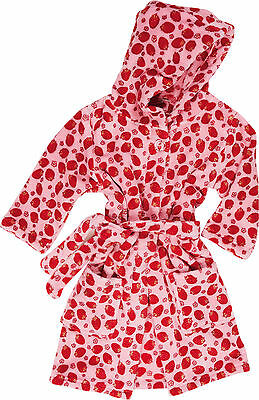 Playshoes Kinder Bademantel Erdbeeren Kuschelig Polyester Fleece Morgenmantel
