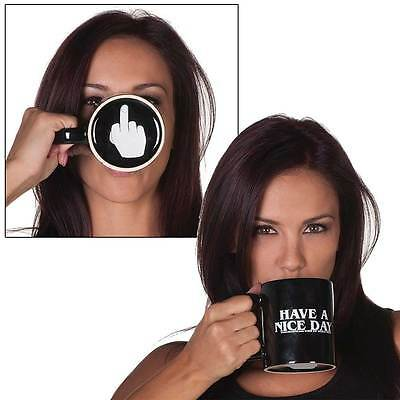 NEW Have A Nice Day Middle Finger Mug - Funny Saying Flip Off Coffee Cup