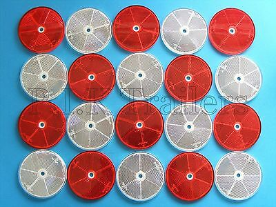 20 x XL LARGE Red & White 80mm Reflectors Driveway Gate Fence Posts & Trailers