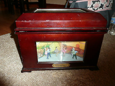MR CHRISTMAS WOOD HARMONIQUE MUSIC BOX WRKS GOLD RECORD SINGS WE WISH YOU MERRY