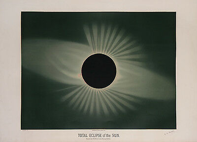 """Etienne Trouvelot : """"Total Eclipse of the Sun"""" (1882) — Giclee Fine Art Print"""