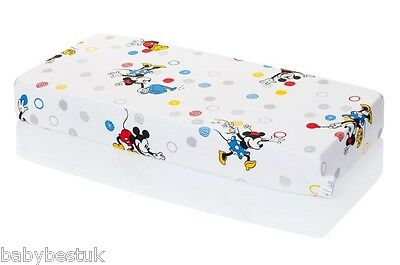 Disney Baby Cot Bed Fitted Sheet - 120x60cm - Mickey & Minnie Mouse- 100% cotton
