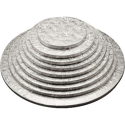 Silver Round Cake Drum Boards 12mm Strong Base 6 - 16 inches