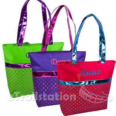 Girls Kids Nylon Dance Swim Tote Bag Laser Sequin Quilted Metallic Color Option