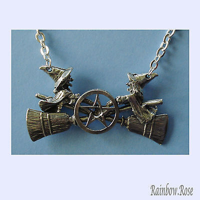 Chain Necklace #410 Pewter WITCHES on brooms PENTAGRAM (55mm x 25mm) 2 Witch