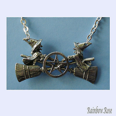 Pewter Necklace on Chain #410 WITCHES on brooms PENTAGRAM 45cm chain 2 Witch