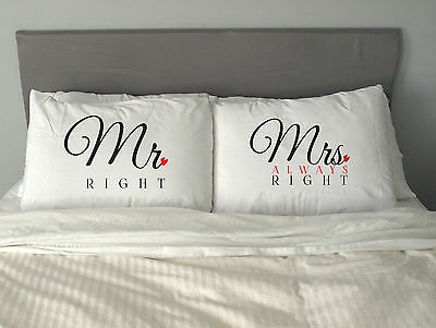 MR&MRS RIGHT  Pillow Case Funny Christmas Gift Anniversary m4