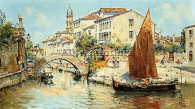 Reyna Antonio Venetian Canal Scenes Pic 2 Artist Painting Oil Canvas Repro Art