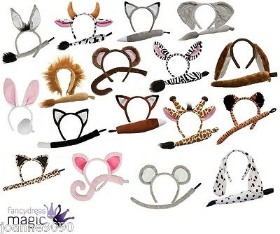 Adults Childs Animal Headband Ears Tail Book Week Fancy Dress Costume Accessory