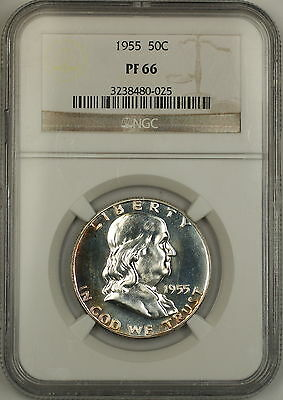 1955 Franklin Silver Half Dollar 50c Proof Coin NGC PF-66 Lightly Toned GEM