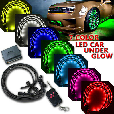7-colors LED  Strip Underglow Underbody Under Car Body Glow Light Kit