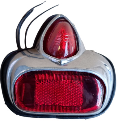 Vespa Rear Light Vbb Vba Gs Alloy Polished Backlight Red With Gasket And Bulb