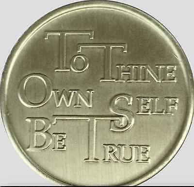To Thine Own Self Be True Serenity Prayer Bronze Medallion AA  Al-Anon NA Chip