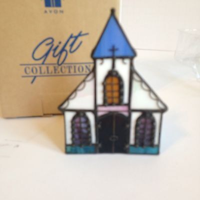 Avon Stained Glass Church Candleholder Tea Light NEW Gift Collection