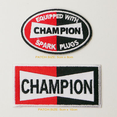 CHAMPION SPARK PLUGS Sponsorship Patch Set of TWO Patches - FREE POST
