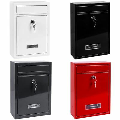 Steel Square Post Box Large Mailbox Lockable Mail Wall Mounted By Home Discount