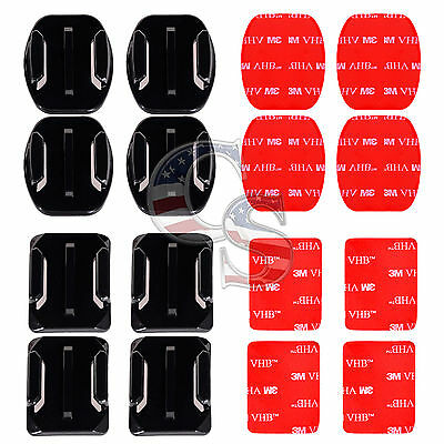 8 Pcs Helmet Accessories Flat Curved Adhesive Mount For Gopro Hero 1 2 3 3+ 4