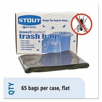 Stout Insect-Repellent 55 Gallon Trash Bags, 37 x 52, 65 per Box (STOP3752K20)