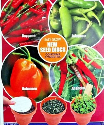 Chilli Collection Multi Pack -4 Discs 4 Varieties - High Quality Vegetable Seeds