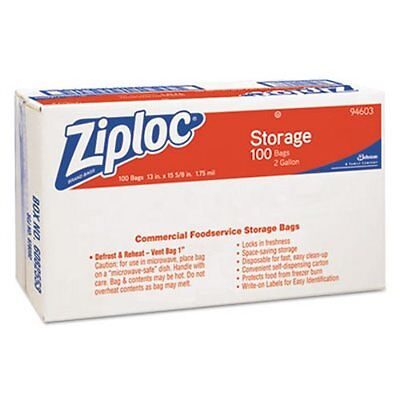 Ziploc 2 Gallon Double Zipper Food Storage Bags, 100 Bags (DVO94603)