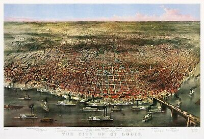 """Currier and Ives : """"Map of the City of St. Louis"""" (1874) — Giclee Fine Art Print"""