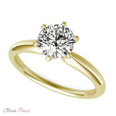 1.0 CT Round Solitaire Engagement Wedding Ring Simulated Diamond 14k Yellow Gold