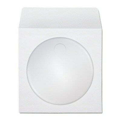 New 1000 Pack White CD/DVD White Paper Sleeves Cover with Flap & Clear Window