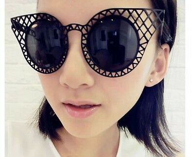 Retro Vintage Metal Hollow-out Round Frame Women Sunglasses 5 color Lace Cat Eye