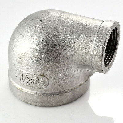 "1-1/2""X3/4""Female Threaded Elbow Reducer Pipe Fitting 90° Angled SS304 BSPT CL"