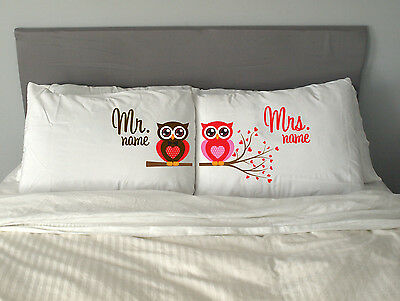 Personalised MR  MRS OWL Pillow Case Christmas  Wedding Love Gift m26
