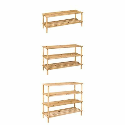 2 3 4 Tier Slated Shoe Rack Wooden Storage Stand Organiser New By Home Discount
