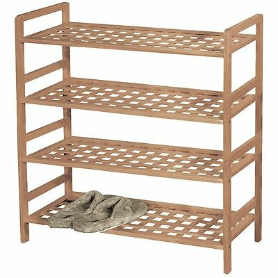 4 Tier Criss Cross Shoe Rack Walnut Storage Stand Organiser New By Home Discount