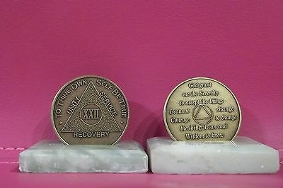 Recovery coins AA 22 Year Bronze Medallion tokens sobriety affirmation birthday