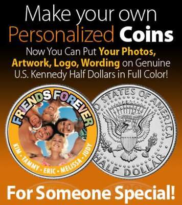 Challenge Coin CREATE YOUR OWN on real U.S. JFK Half Dollar SPECIAL PRICE Custom