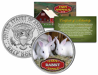 RABBIT * Collectible Farm Animals * JFK Kennedy Half Dollar U.S. Colorized Coin
