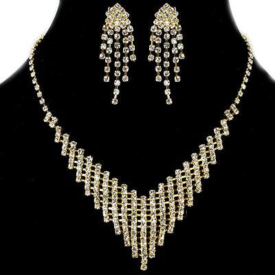 Clear Rhinestone Bib Prom Bridal Formal Gold Earrings Necklace Jewelry Set