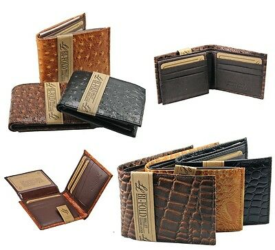Mens Genuine Leather Wallet Bifold Ostrich Crocodile Print Card Slots Fashion