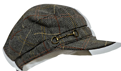 New with Tags!! Country Road Brown Plaid Cabbie Hat with Antique Goldtone Trim