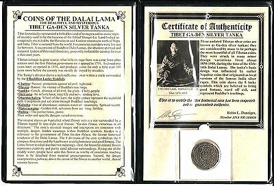 Tibet Silver Tanka Coin of the Dalai Lama with Album And Certificate