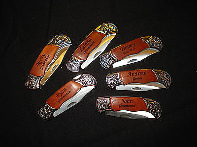 Groomsmen Gifts - 9 Personalized Engraved Pocket Knives. Groom, Best Man