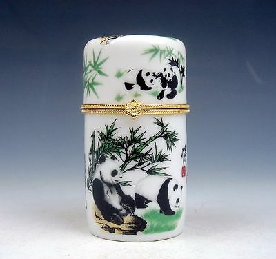 Chinese Lovely Pandas & Bamboos Painted Porcelain Toothpick Holder #110513B1