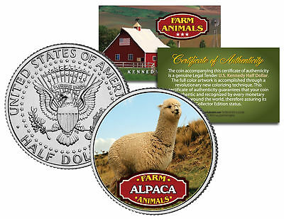 ALPACA * Collectible Farm Animals * JFK Kennedy Half Dollar U.S. Colorized Coin