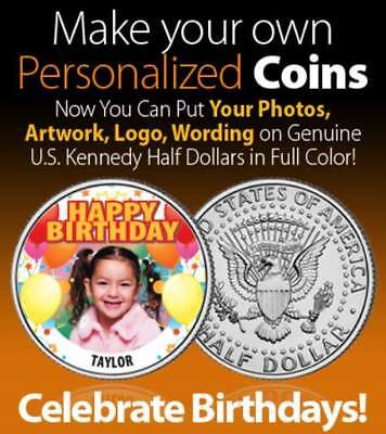 Design Your Own Colorized U.S. JFK Half Dollar PERSONALIZED COIN with your Photo
