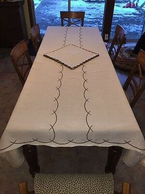 "Vtg Woven Embroidered 110""x65"" ECRU Tablecloth 12 Napkins STUNNING"