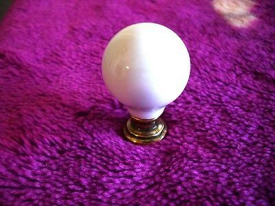 NEW Small WHITE Porcelain Ceramic Cabinet Door Knobs Drawer Pulls w Brass Bases