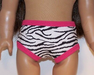 BLACK WHITE PINK Zebra Underwear Panties Doll Clothes For 18 American Girl (Debs