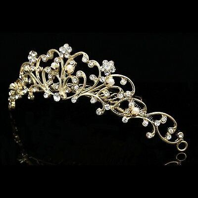 Gold Bridal Wedding Prom Rhinestone Crystal Flower Vine Tiara Comb V796