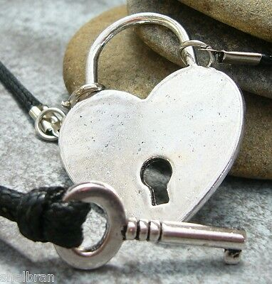 2 x Key Heart Necklace Choker Set Couples Pair Fifty Shades Of Grey BDSM Collar