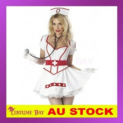 b0aa5df53f9 Sexy Naughty Nurse Doctor Uniform Fancy Dress Up Hens Party Costume  Halloween